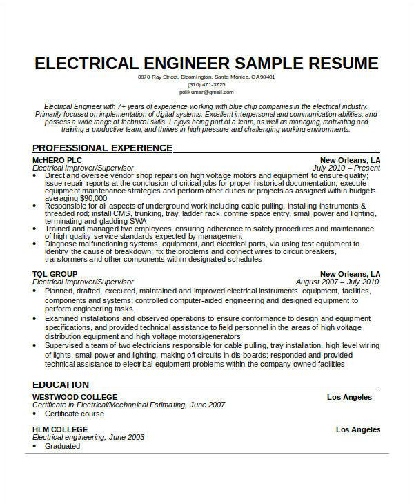free engineering resume