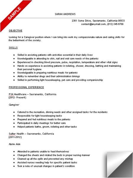 Sample Resume Of Caregiver for Elderly Caregiver Resume Sample Limeresumes