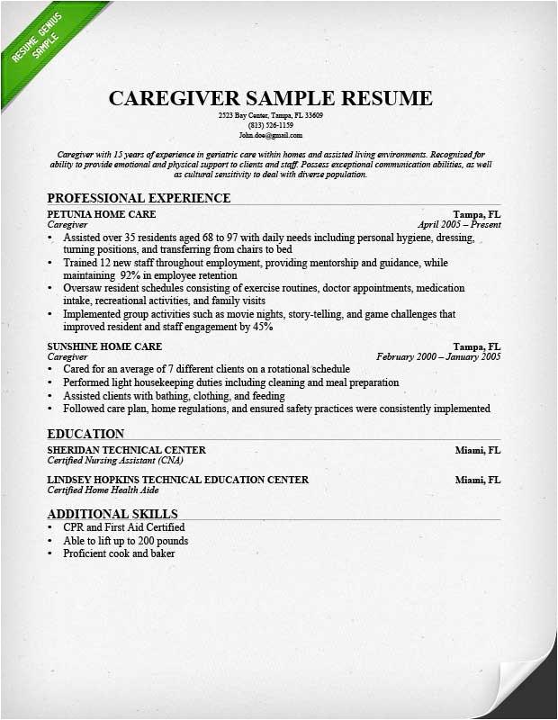 Sample Resume Of Caregiver for Elderly Caregiver Resume Sample Writing Guide Resume Genius