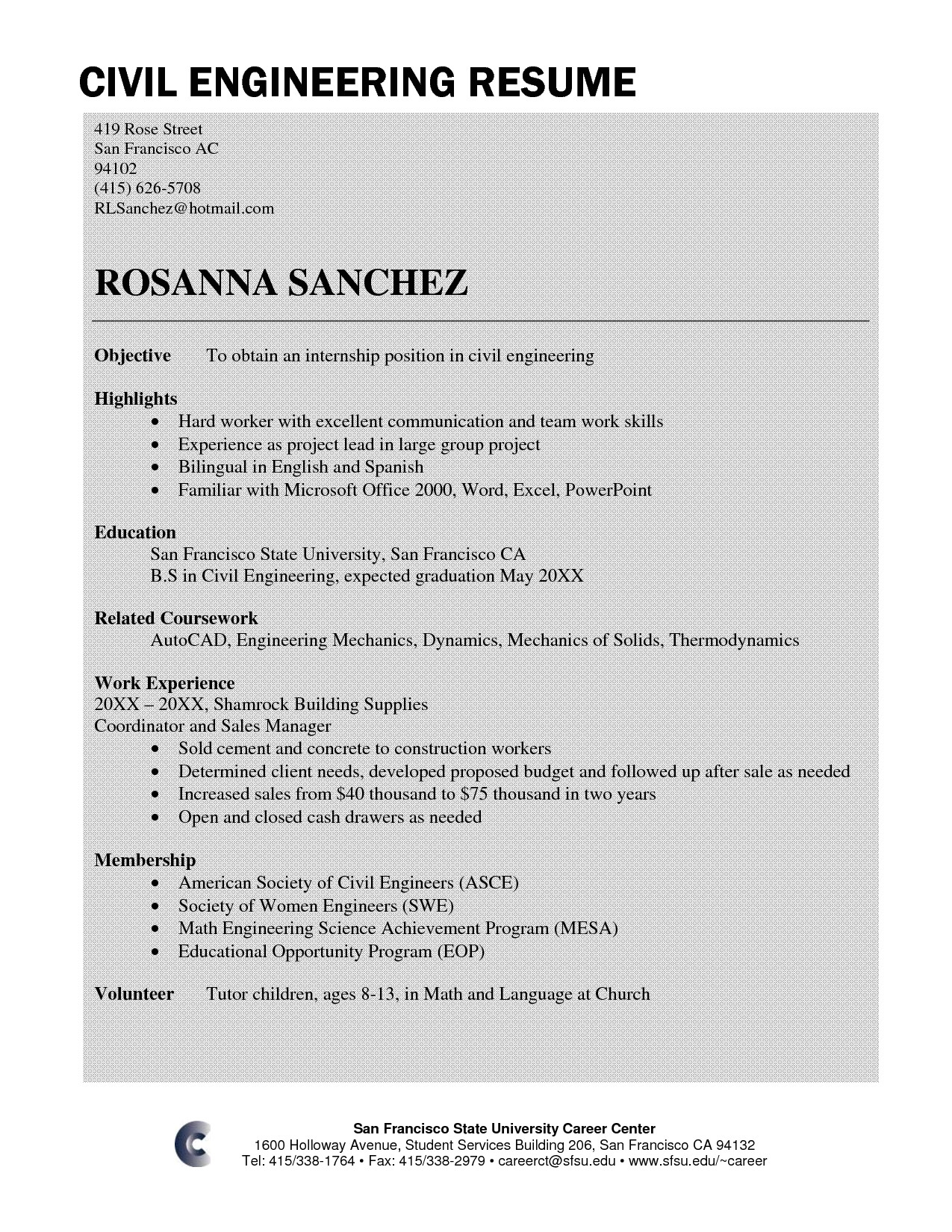 sample resume civil engineer fresher