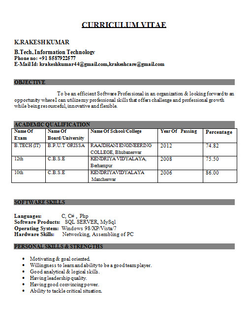 sample resume format for freshers engineers