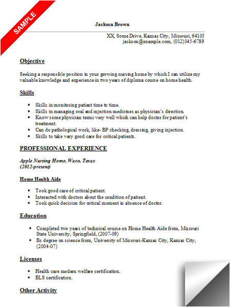 home health aide resume sample
