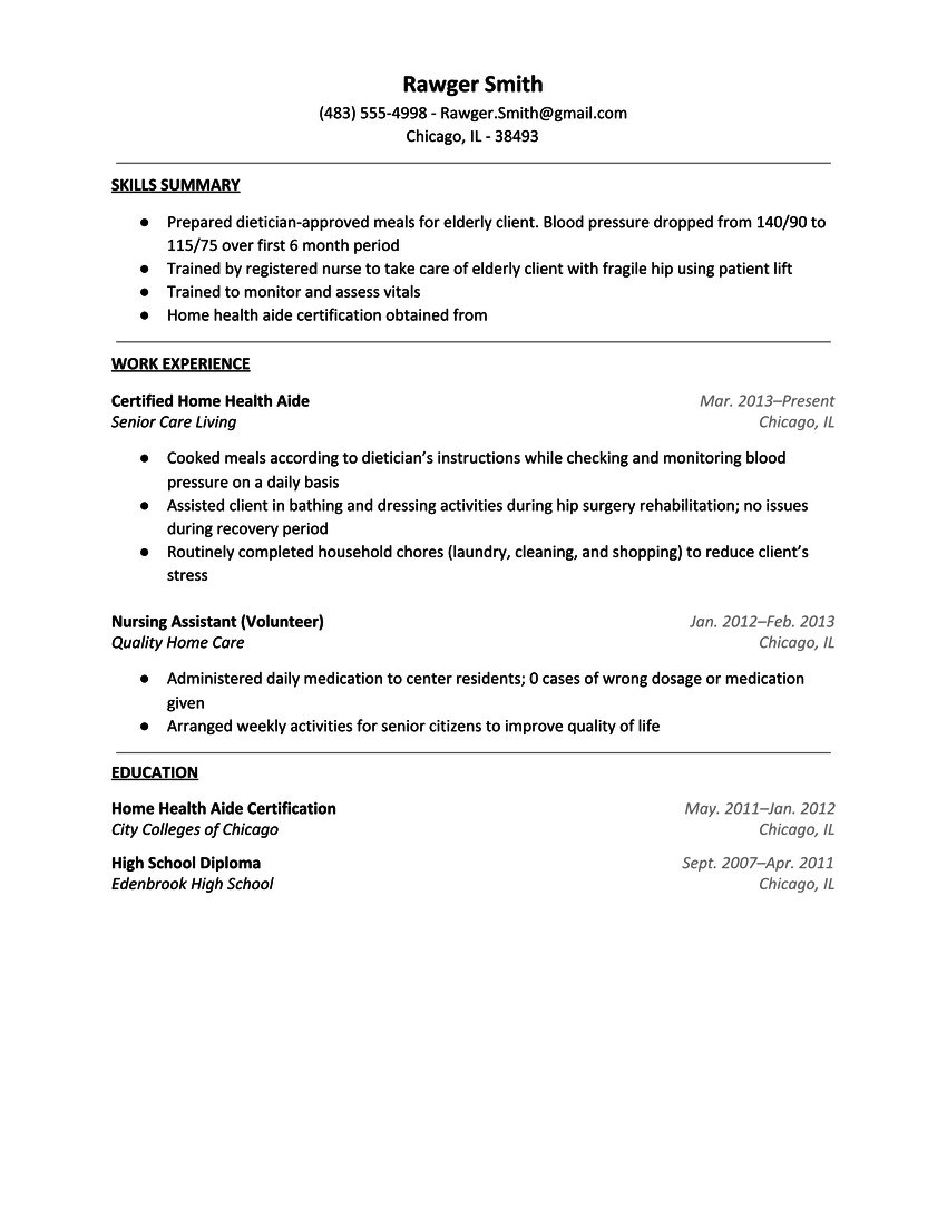 nurses aide resume sample