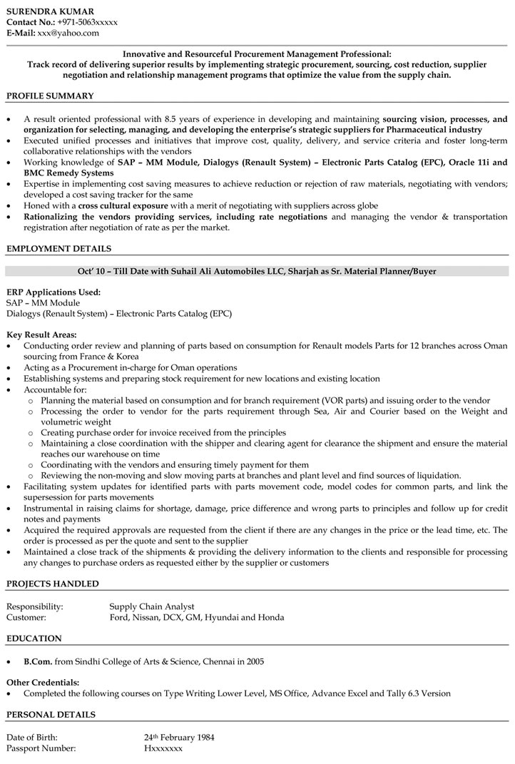 Sample Resume Of Purchase Manager Procurement Manager Resume Printable Planner Template