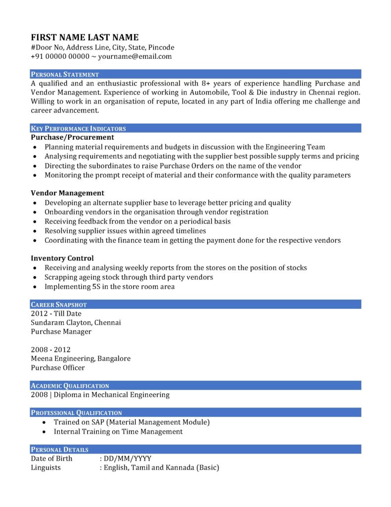 Sample Resume Of Purchase Manager Sample Resume Cv Of A Purchase Manager In India