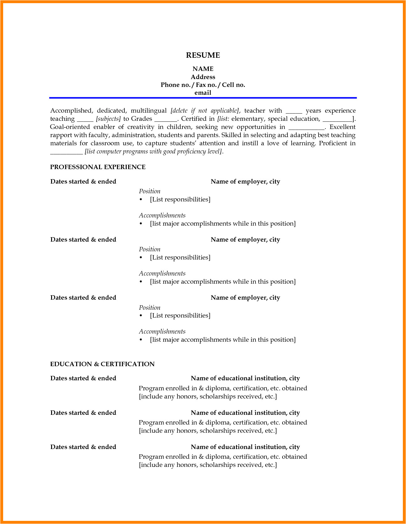 Sample Resume Of Teacher Applicant Resume for Elementary Teacher Applicant Bongdaao Com