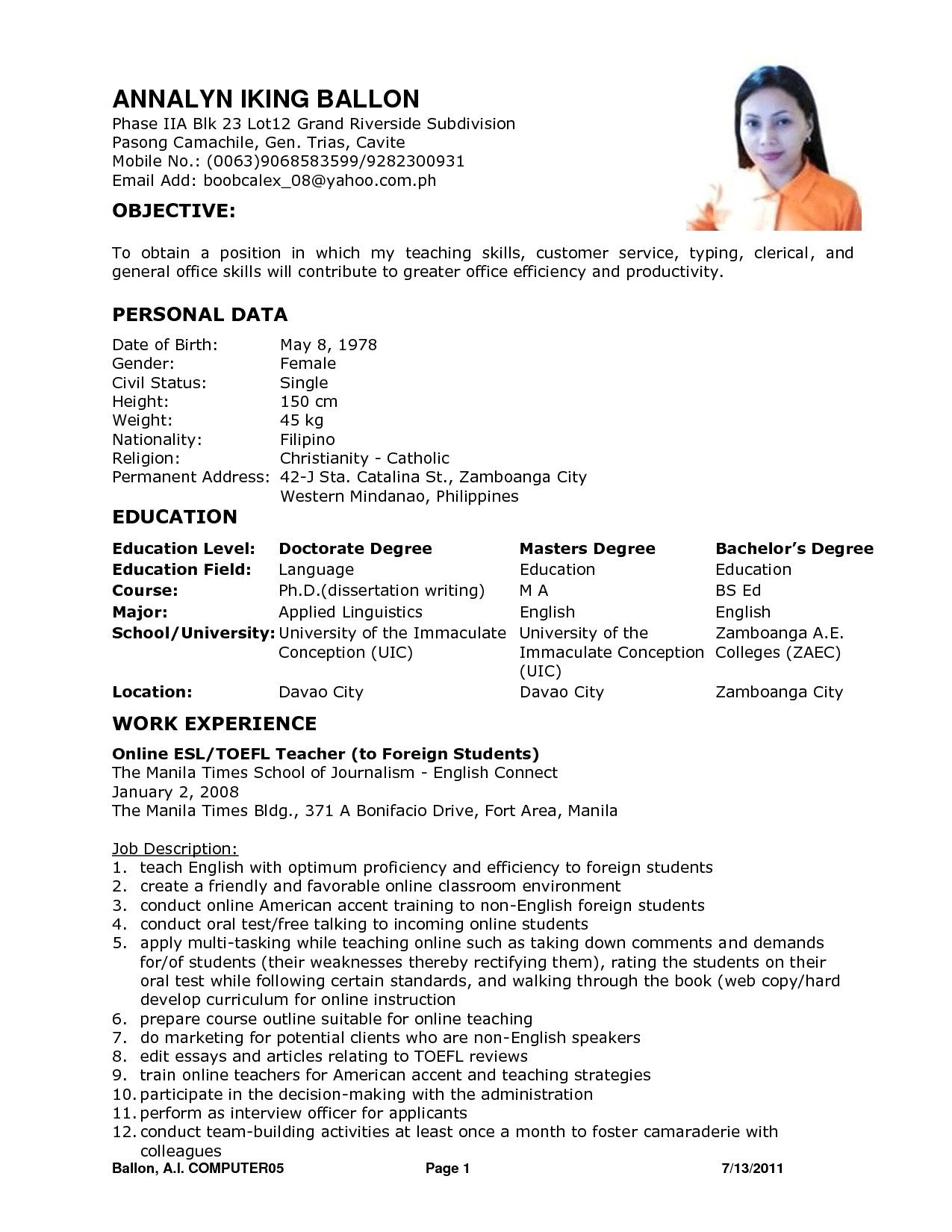 Sample Resume Of Teacher Applicant Resume for Teacher Applicant Best Letter Sample