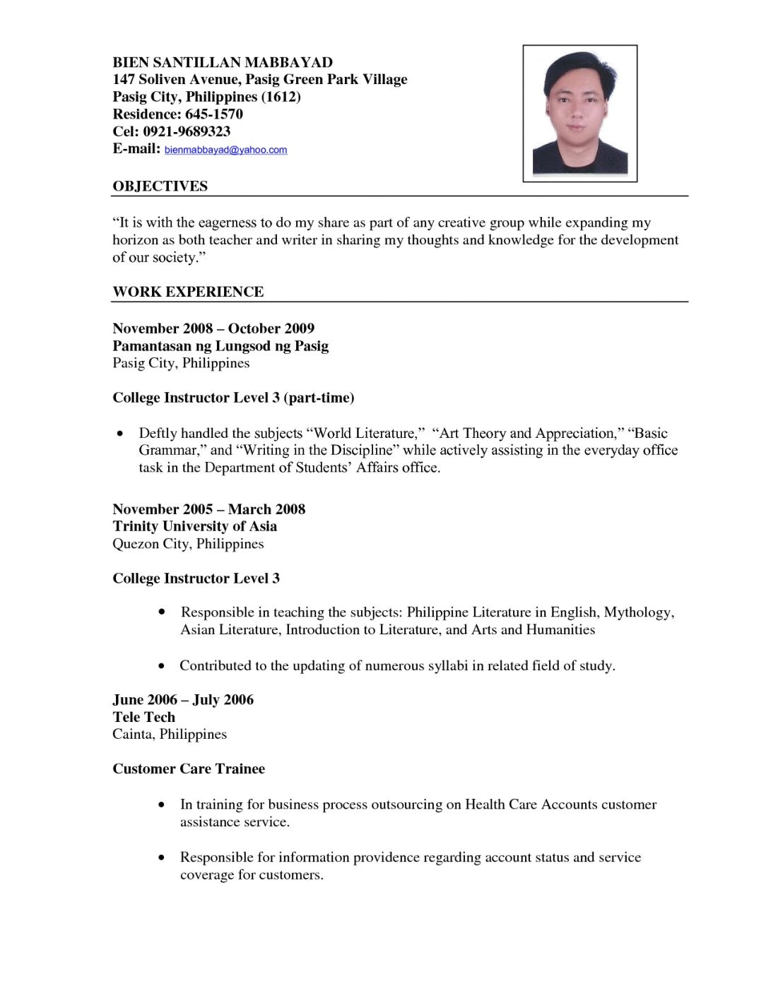 Sample Resume Of Teacher Applicant Sample Of Resume for Teacher Applicant Kc Garza