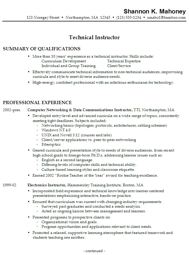 resume work experience samples 3505