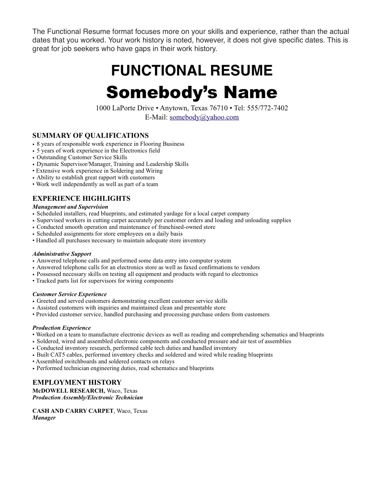 sample resume with one job experience