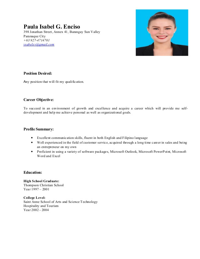 resume with position desired