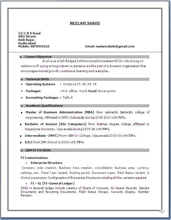 sap fico resume 3 years experience