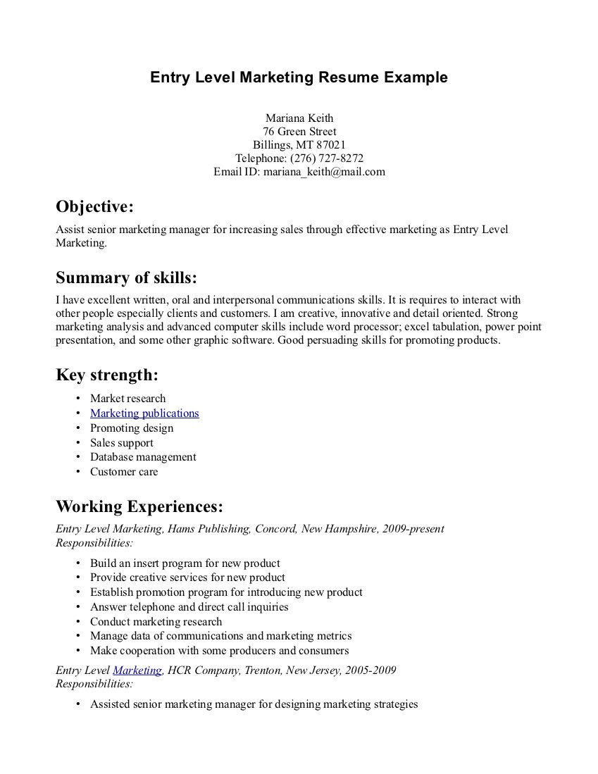 examples of resumes for entry level jobs