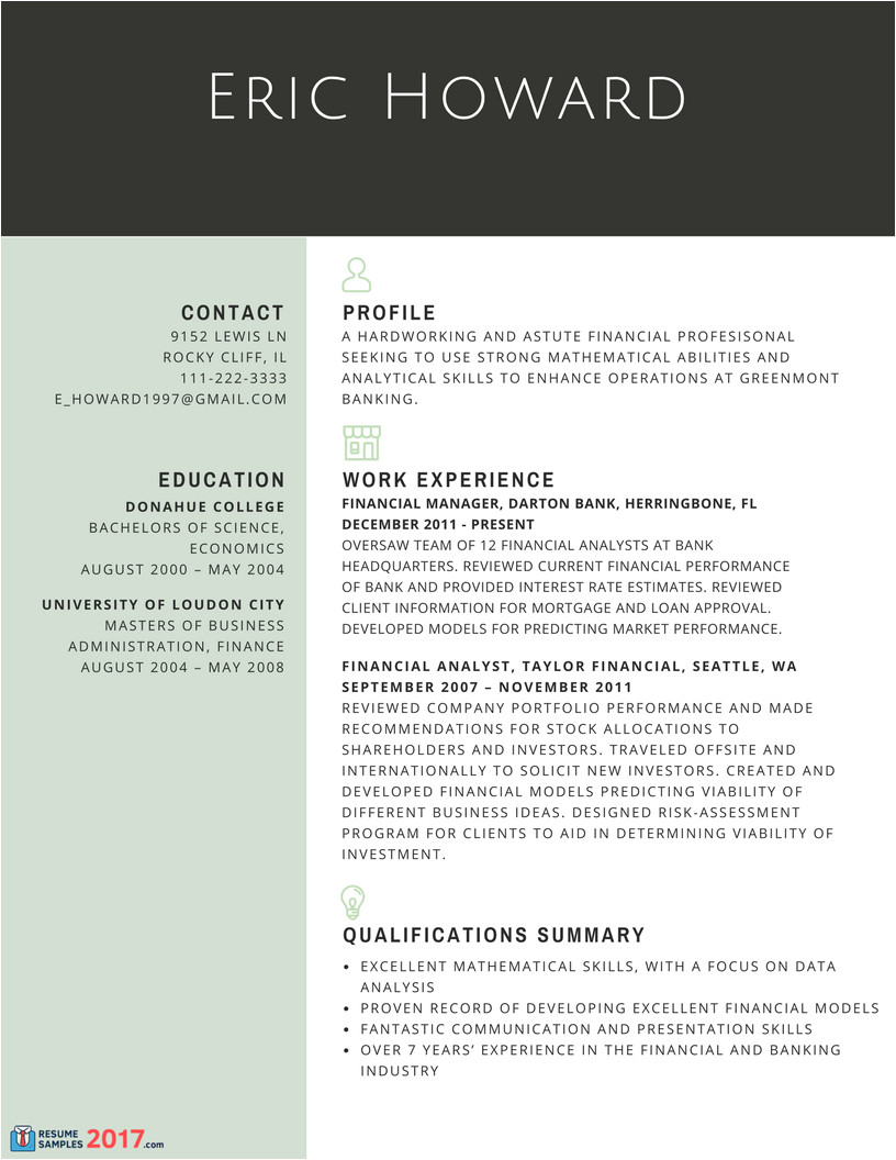 resume samples for experienced finance professionals in 2017