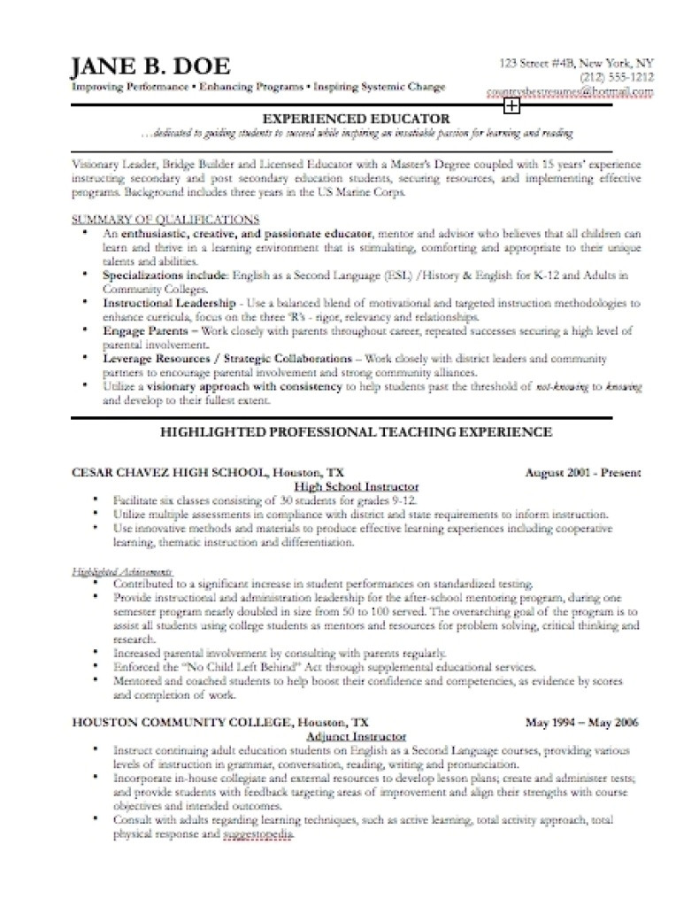 sample resume for experienced professionals