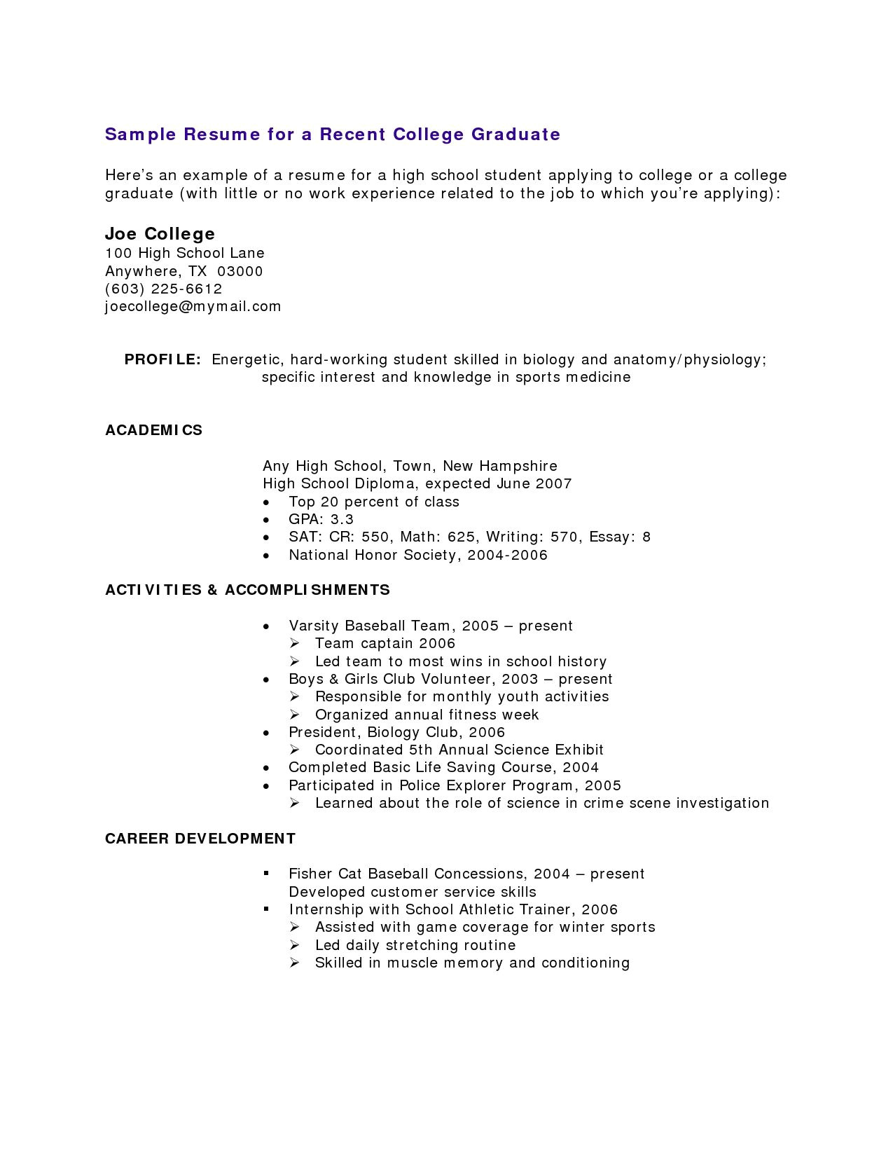 Sample Resumes for High School Students with No Work Experience High School Student Resume with No Work Experience Resume