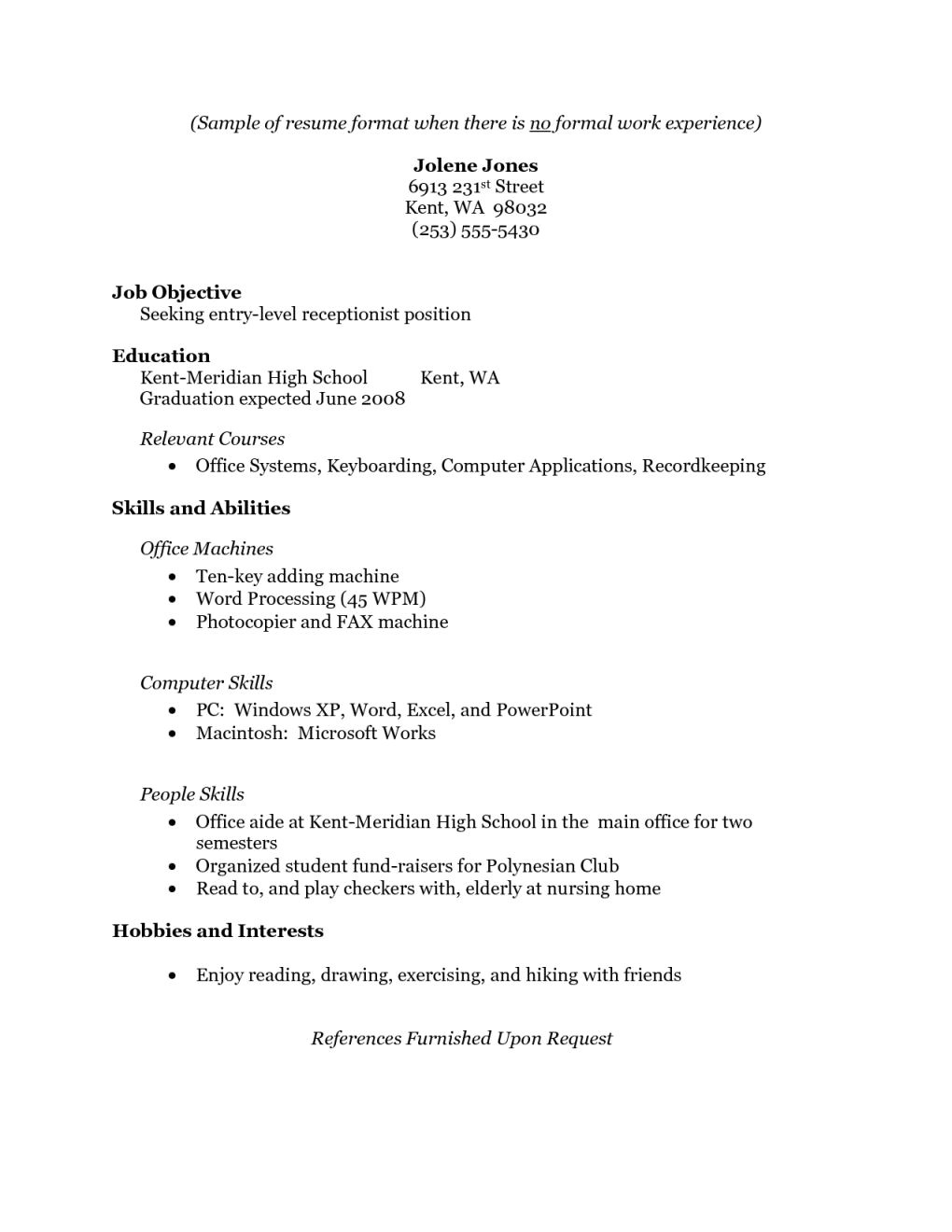 resume examples for highschool students no work experience page sample fresh graduate without still in college with experience