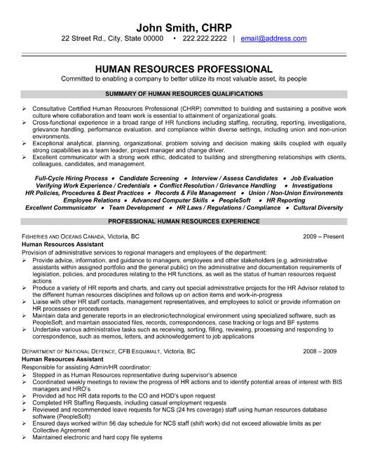 human resources resume samples