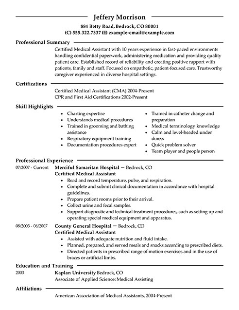 Sample Resumes for Medical assistants Best Medical assistant Resume Example Livecareer
