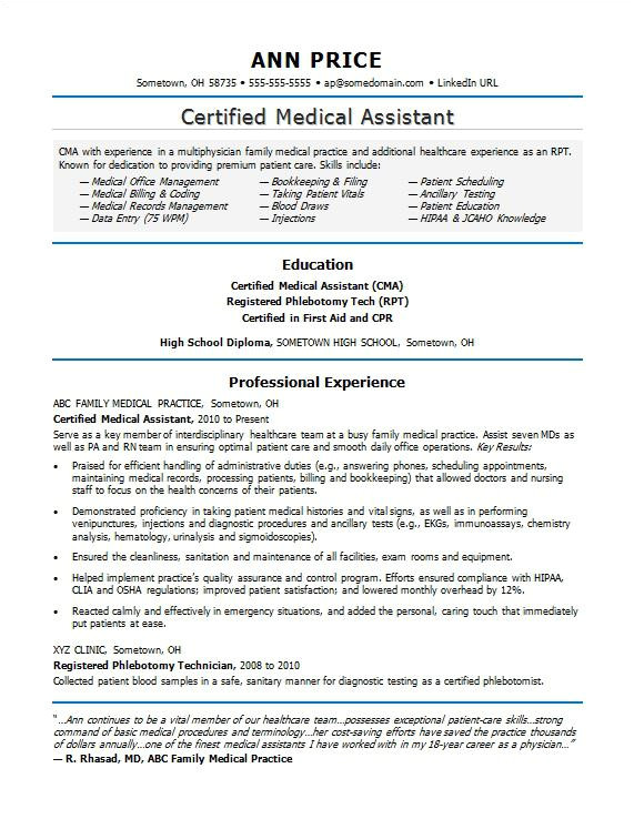 sample resume medical assistant
