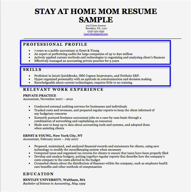 Sample Resumes for Stay at Home Moms Returning to Work Cover Page Resume for Stay at Home Mom Resume Template