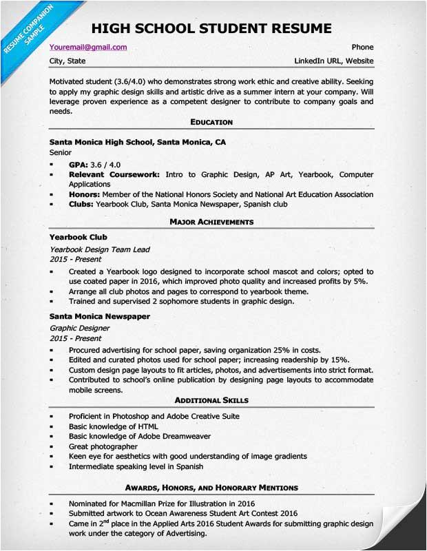 high school student resume sample