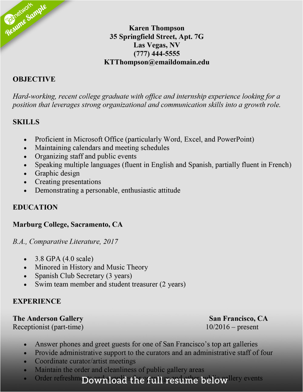 Sample Resumes for University Students How to Write A College Student Resume with Examples
