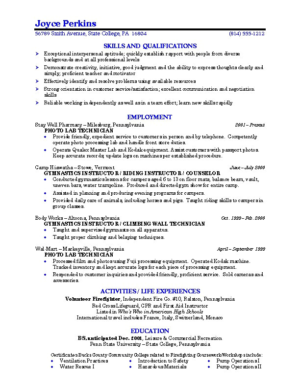 sample resume college student