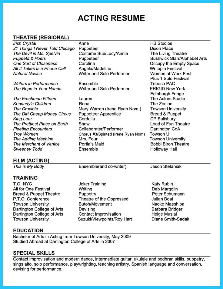 Sample Skills and Strengths In Resume Acting Resume Sample Presents Your Skills and Strengths In