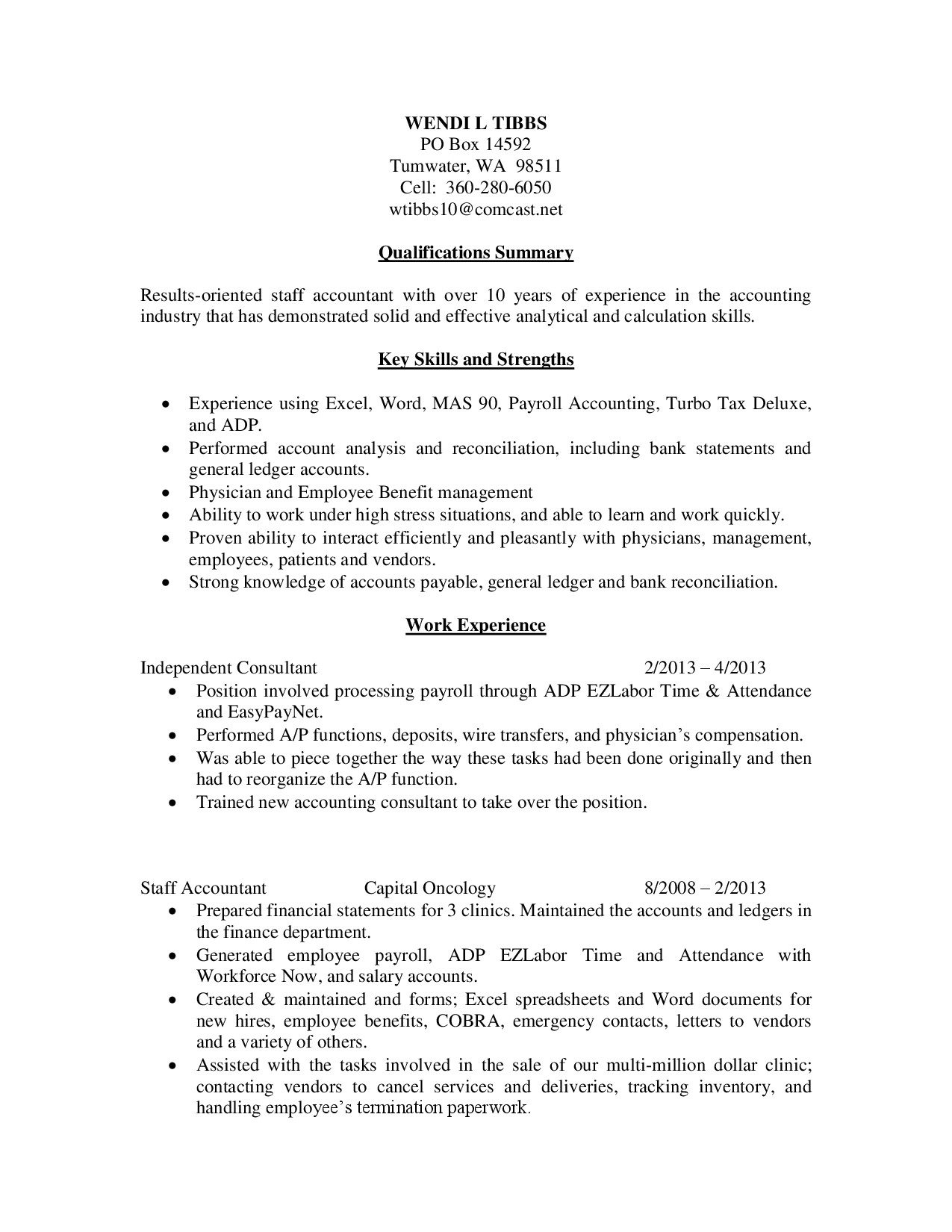 key skills and strengths payroll accounting resume sample job position as staff acc