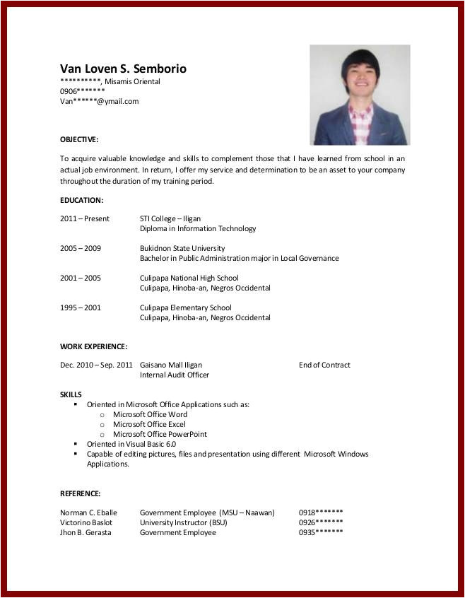 Sample Student Resume with No Working Experience Sample Resume for College Student with No Experience