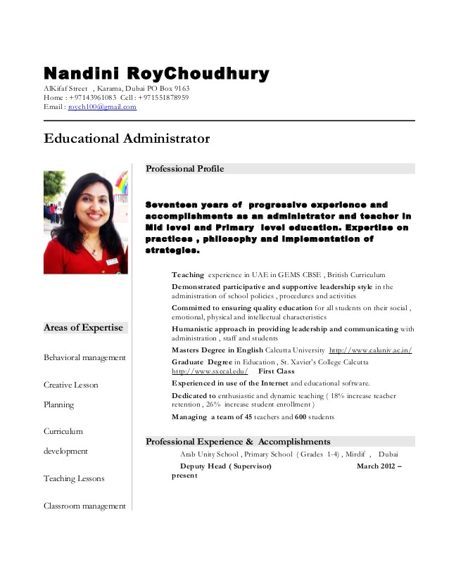 nandini teacher resume