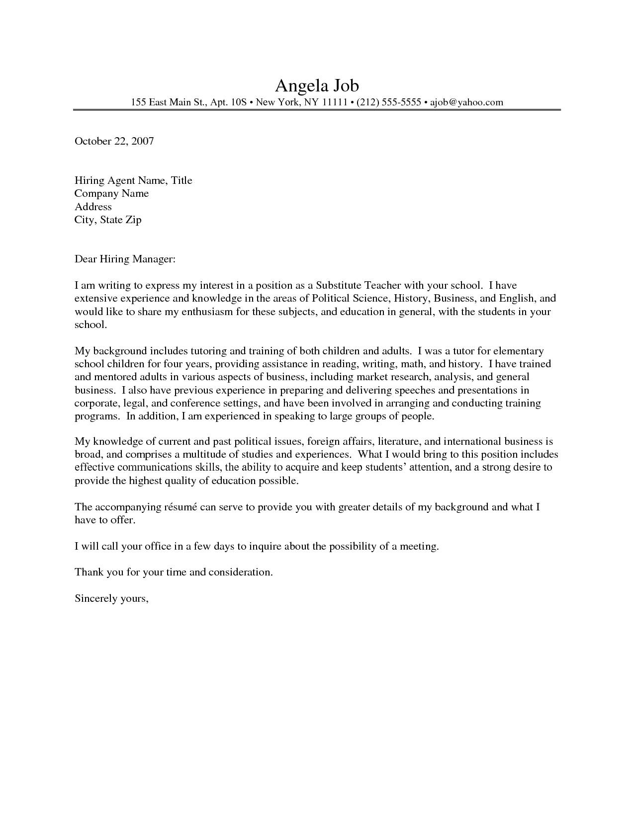 Sample Teaching Cover Letters for New Teachers English Teacher Cover Letter Sample for New Teachers
