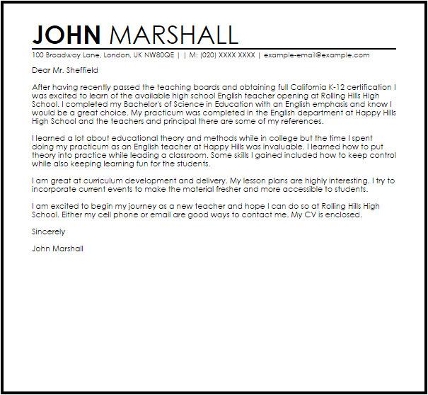 sample cover letter for a new teacher