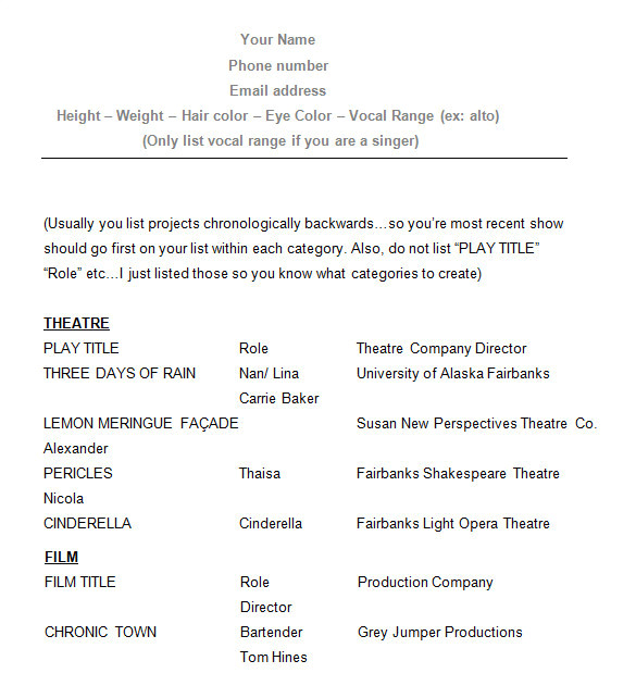 Samples Of Acting Resumes How to Create A Good Acting Resume Template