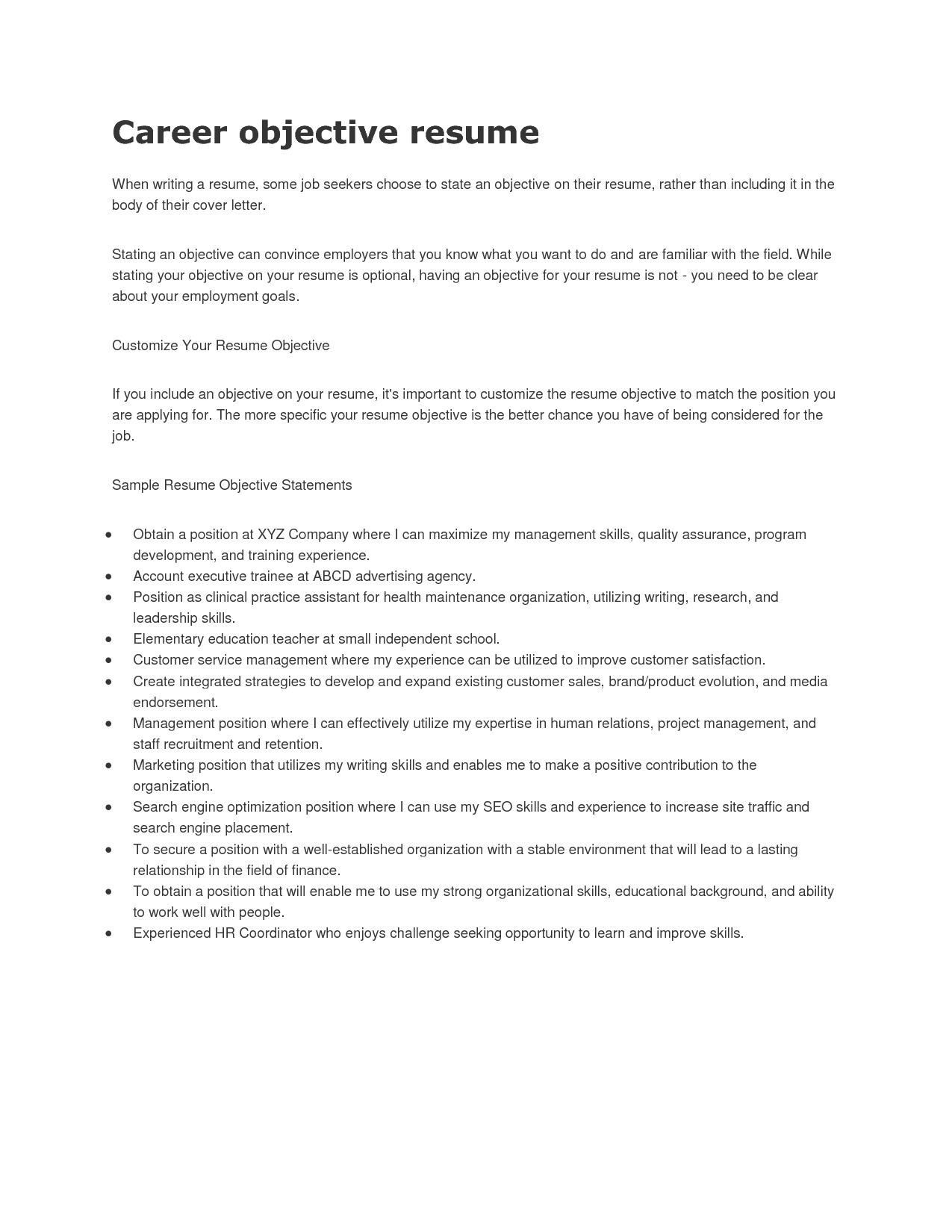 Samples Of Career Objectives On Resumes 12 General Career Objective Resume Samplebusinessresume