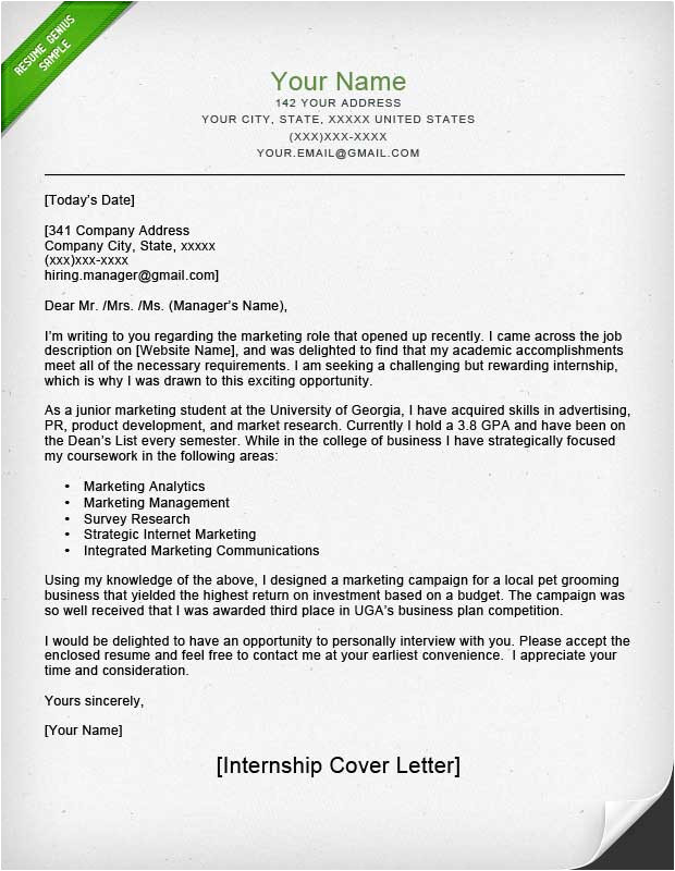 Samples Of Cover Letters for Internships Internship Cover Letter Sample Resume Genius