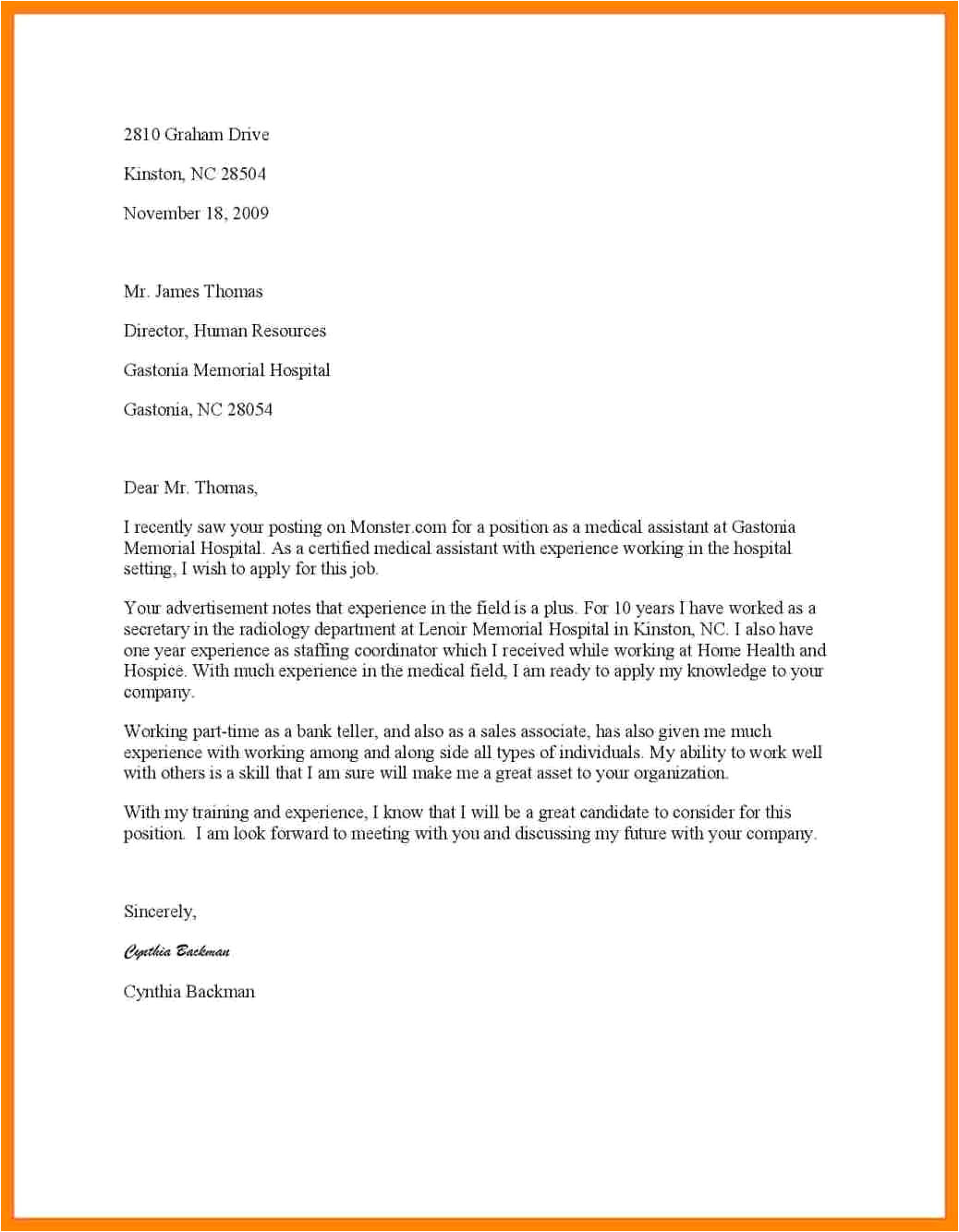 best cover letter for medical assistant job