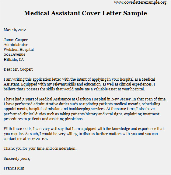 Samples Of Cover Letters for Medical assistant Medical assistant Cover Letter Samples Best Resume format