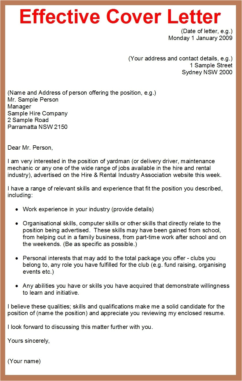 samples of cover letter for job applications