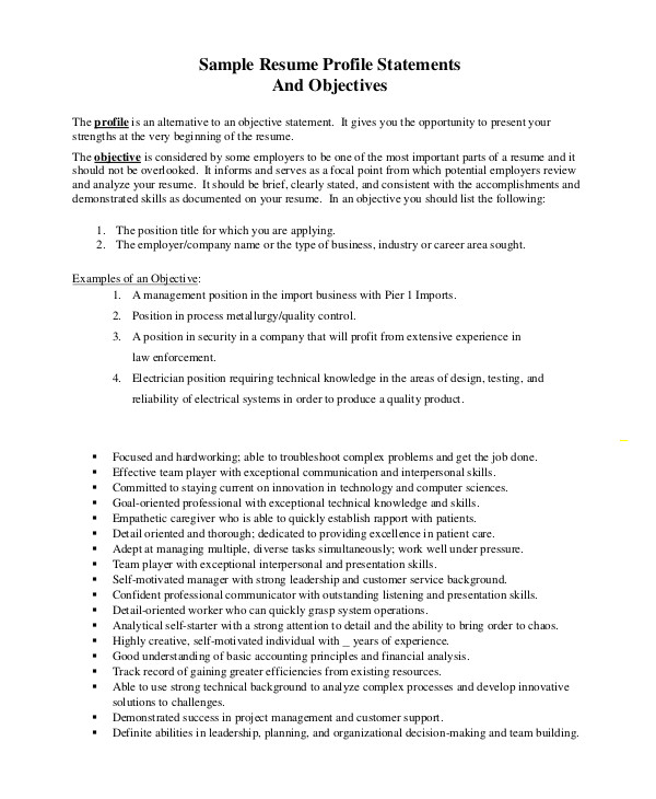 objective statement resume