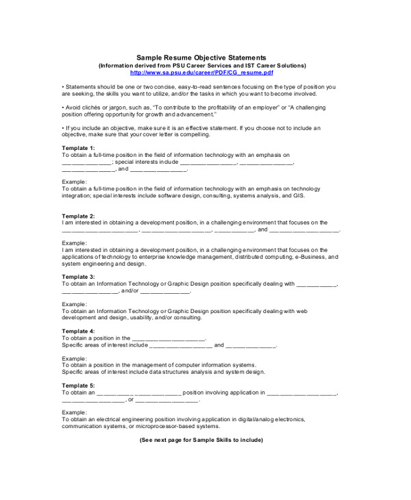 Samples Of Objective Statements for Resumes 9 Resume Objective Samples Examples Templates Sample