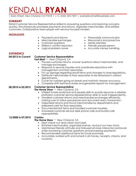 Samples Of Resumes for Customer Service Representative Best Retail Customer Service Representative Resume Example