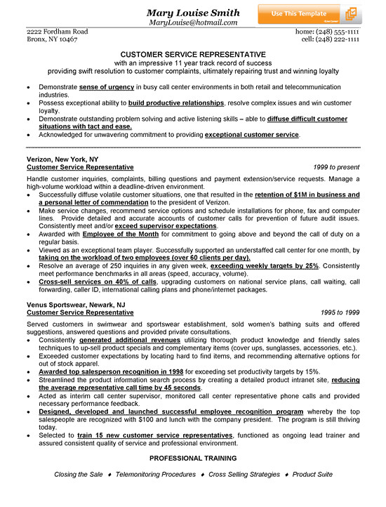 Samples Of Resumes for Customer Service Representative Customer Service Representative Resume Example