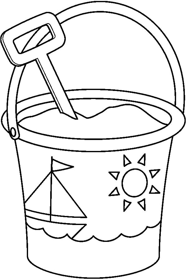 printable pail and shovel coloring sketch templates