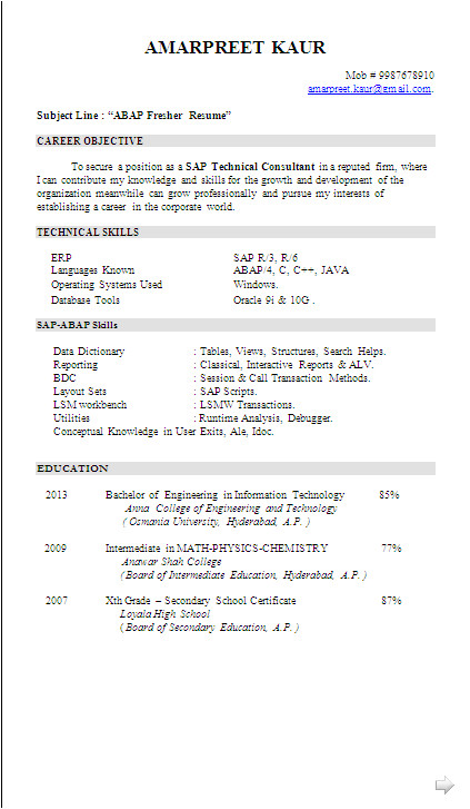 Sap Abap Fresher Resume Sample Resume Sample Sap Abap Fresher Resume formats