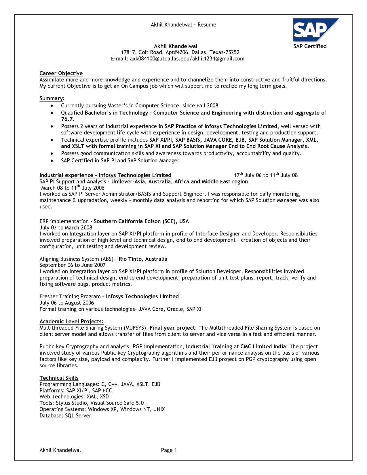 sap basis resume format for freshers