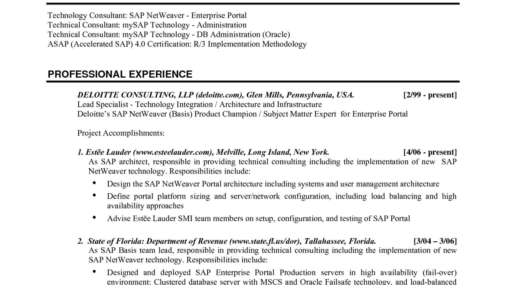 sap basis resume format for freshers