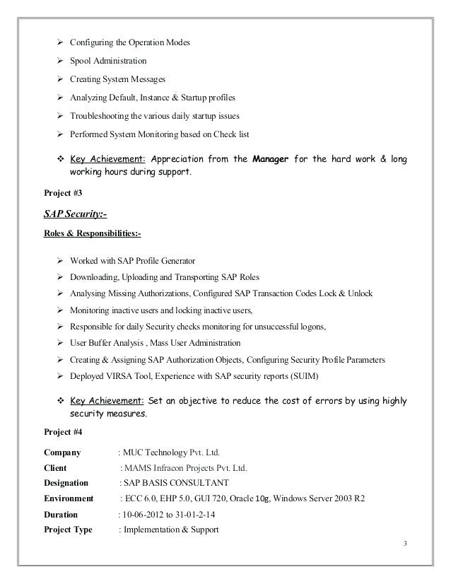 Sap Basis Administrator Resume Sample Sap Basis Resume format Sap Basis Resume Sap Basis