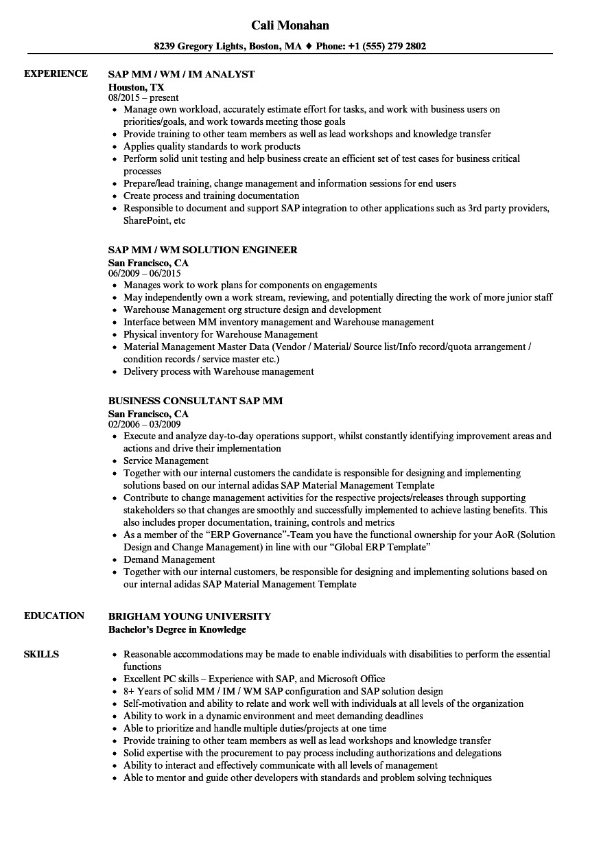 sap mm resume sample